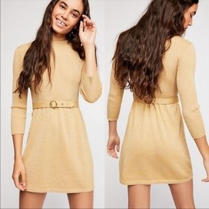 NWT Free People French Girl Gold Sweater Dress
